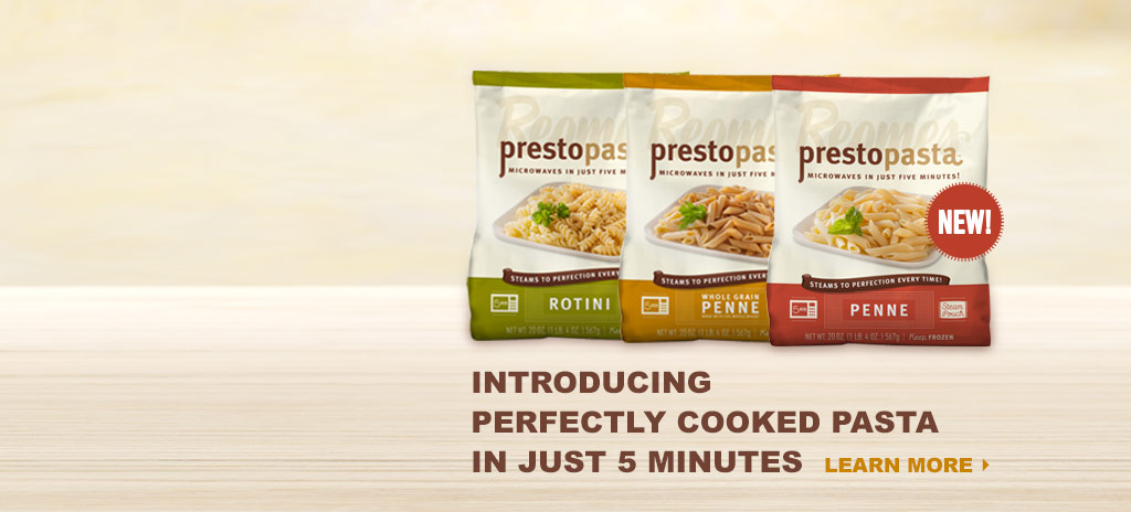 Reames Prestopasta gives you perfectly cooked pasta in 5 microwavable minutes